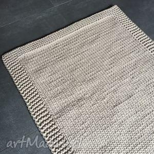 DYWAN ZE SZNURKA BAWEŁNIANEGO BEŻOWY 100X140 CM, dywan, chodnik, sznurek, rękodzieło