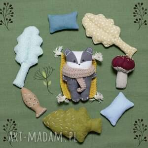 hand-made zabawki zestaw leśne zwierzątka - borsuk