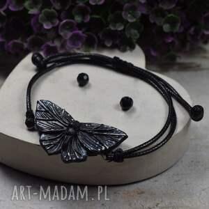 bransoletka czarny motyl, motyl, z motylem