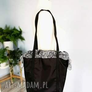 hand-made na ramię czarna torebka worek