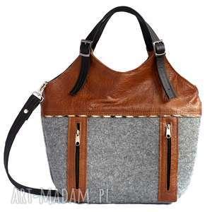 Kompaktowa z filcu zamkami, torebka, filc, skóra, kieszenie, praktyczna, oryginalna