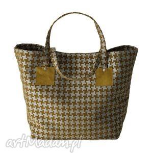 37-0004 srebrno-zielona torebka shopper bag 3w1 / ekologiczna torba na zakupy owl