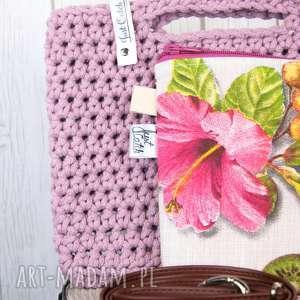 looped brudny róż, szydełko, crochet, sznurek, bawełna