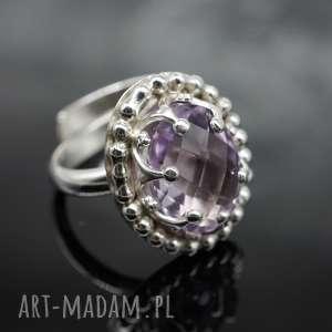 Srebrny pierścionek z ametystem ELIZABETH, pierścionek, ametyst, koronka, koronkowy