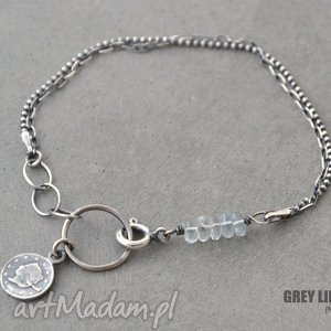 bransoletka mini z akwamarynem v 3, srebro, minerały, akwamaryn, moneta biżuteria