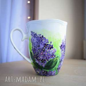 handmade kubki kubek ręcznie malowany kwiat bzu dla niej