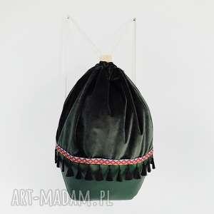 plecak worek indiana - ,plecak,worek,zielony,las,indiański,welur,