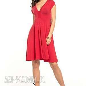 Zwiewna sukienka z dekoltem v, t312, czerwona sukienki tessita