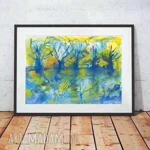 pejzaż grafika, plakat z pejzażem, krajobrazem, kolorowy do pokoju