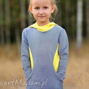 leniwamysz tunika niebiesko - żółta z kapturem dla dziewczynki, tunika, sport