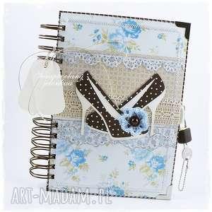 Notes zamykany na kłódkę, notes, pamiętnik, kłódka, kluczyk, szpilki, koronka