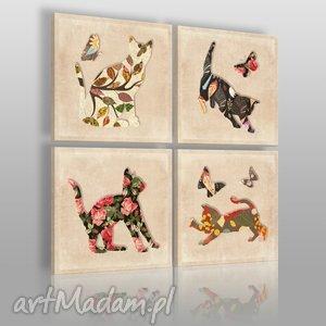 obraz na płótnie - kotki 4 części 4x40x40 cm 07301 , koty, kotki, kwiaty