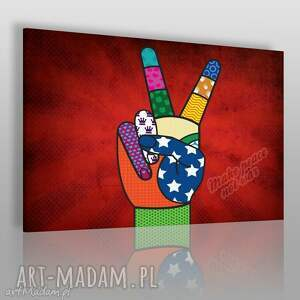 obraz na płótnie - make peace not war 120x80 cm 49201, dłoń, peace, love, kolorowy