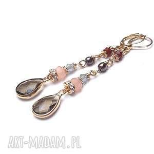 kolczyki brown /06-11-17/ kolczyki, kryształki, hematyty, długie, metal, unikalny