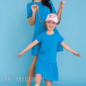 Komplet dla mamy i córki, sukienka z falbanką, niebieski, sukienka, komplet, mama
