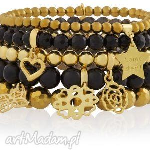 zestaw modowych czarnych złotych bransoletek powder gold - swarovski