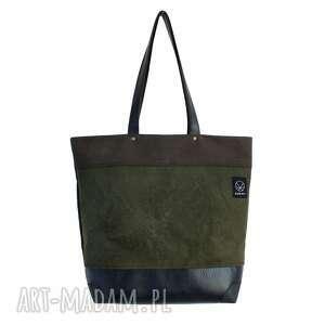 pod choinkę prezent, torba shopper na ramię, zakupy, praca, pojemna, oliwkowa