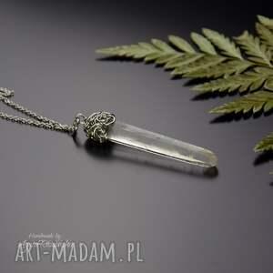 ręcznie robione wisiorki wisiorek talizman kryształ górski stal chirurgiczna wire