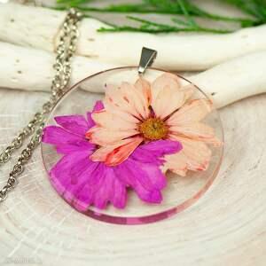 naszyjnik z prawdziwymi kwiatami zatopionymi w żywicy z304, biżuteria