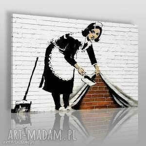 obrazy obraz na płótnie - banksy pokojówka 120x80 cm 20010, banksy, streetart