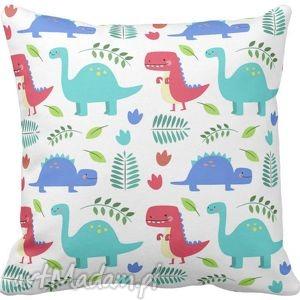 Poszewka na poduszkę dziecięca kolorowe dinozaury 3060, poszewka, kolorowa,