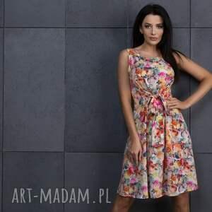 Sukienka 2w1 wiązana na kokardę T234, jasne kwiaty, sukienka, elegancka, kokarda,