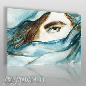 vaku dsgn obraz na płótnie - kobieta chusta turkus 120x80 cm 55501