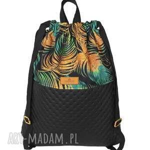 Plecak eko skóra złote liście palmowe maremi design czarny