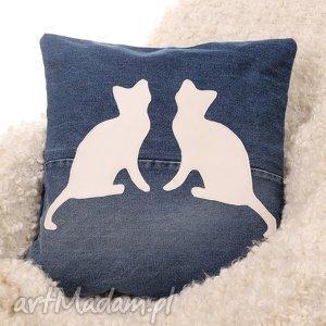poszewka na poduszkę z kotami, poduszka, poszewka, kot, kocia, prezent, dżinsowa