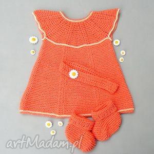 Komplet Ania, sukienka, komplet, buciki, opaska, dziewczynka, niemowlę