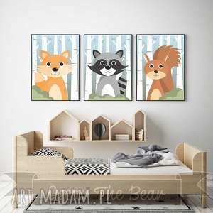 pokoik dziecka zestaw plakatów przyjaciele z lasu a3, lis, szop, wiewiórka, las