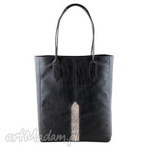 ręcznie robione na ramię pillar - duża torba shopper czerń i nakrapiana