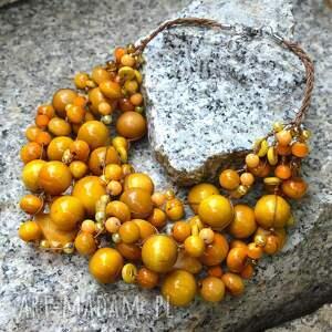 pmpb style żółty elegancki naszyjnik z korali drewnianych, żółte korale