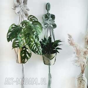 ręcznie robione dekoracje zestaw kwietnik wiszący motyw flora