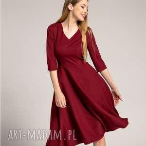 Sukienka Carmen o długości 3/4 Bordowa, rozkloszowana, sukienka-z-koła