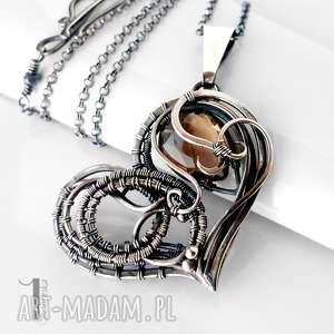 Prezent Smoky heart srebrny naszynik z kwarcem dymnym , srebro, wirewrapping, kwarc