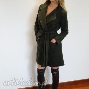 płaszcz głęboka zieleń, płaszcze, trenczew, wełna, wełniane, kurtki, wiosenne