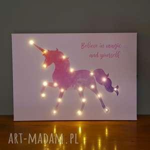 świecący jednorożec imię lampa prezent obraz led personalizowany dla dziewczynki