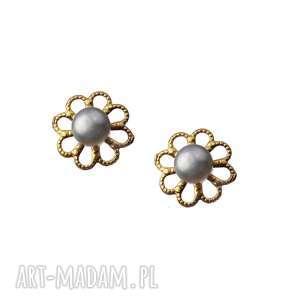 kolczyki perła kwiat pozłacane srebro 925, kolczyki, kwiat, perła, srebro, pozłacane