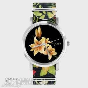 Prezent Zegarek, bransoletka - Żółta lilia kwiaty, nato, zegarek, bransoletka, nato