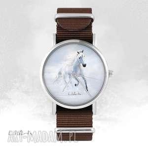 hand-made zegarki zegarek - biały koń biegnący brązowy, nato