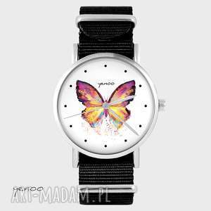 hand-made zegarki zegarek - motyl czarny, nato