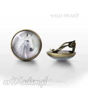 klipsy - biały koń antyczny brąz, klipsy, koń, konik, konie, antyczne