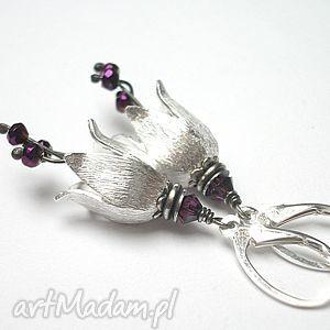 kolczyki leśne dzwonki-violet metalic-, srebro, hematyty, swarovski, dzwonki, kwiaty