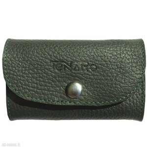 Portmonetka mini zielono-pomarańczowa portfele tenaro skórzana