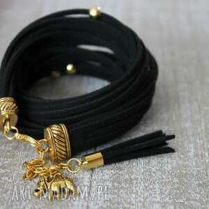 bransoletki czarna bransoletka, słoń, chwost, słonik, podwójna