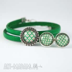 komplet - bransoletka i kolczyki zielona skórzana, grafika, bransoletka, skórzana