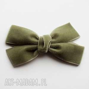 spinka do włosów kokarda velvet bow sage green, ozdoba, kokarda, aksamitna