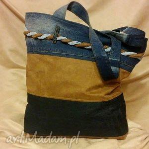 torba w trzy pasy z plecionką, torba, jeans, recykling, modna, ramię, plecionka