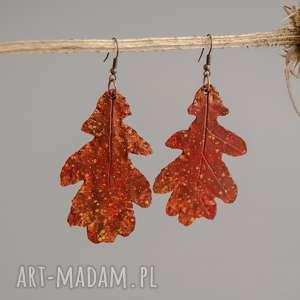 Jesienne kolczyki w formie liści dębu, kolczyki, lekkie-kolczyki, boho, jesienne